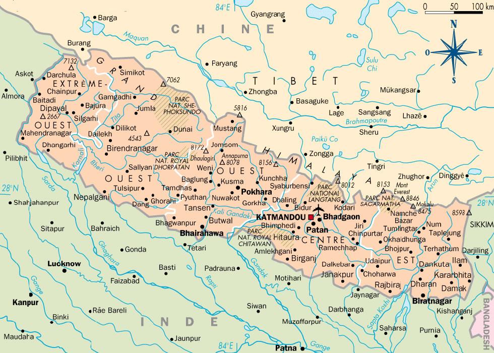 Nepal >> Carte du Népal